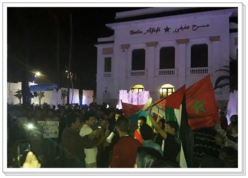 الجديدة:احتجاجات و مناوشات في دعم حراك الريف من أمام مسرح عفيفي