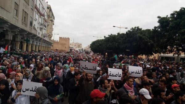طوفان بشري بالرباط لنصرة القدس و التنديد بقرار اترامب